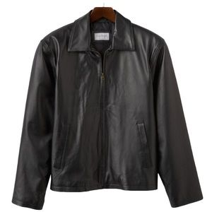 Men's Vintage Leather Jacket Black Split Napa
